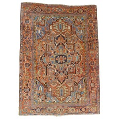 Antique Persian Heriz, Geometric Serapi Design, Rust, Blue, Coral, Wool, 1915