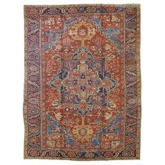 Antique Persian Heriz, Geometric Serapi Design, Rust Blue, Wool, Room Size, 1915