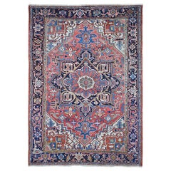 Antique Persian Heriz Good Condition Even Wear Light Red Hand Knotted Wool Rug