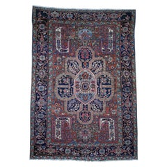 Antique Persian Heriz Good Condition Flower Design Hand Knotted Oriental Rug