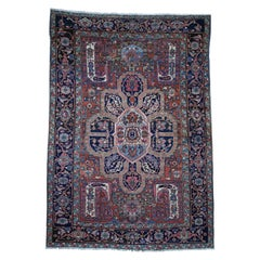Antique Persian Heriz Good Condition Flower Design Hand-Knotted Oriental Rug