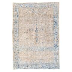 Antique Persian Heriz Handmade Geometric Beige and Blue Wool Rug