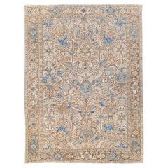 Antique Persian Heriz Handmade Geometric Floral Beige and Blue Wool Rug