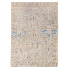 Antique Persian Heriz Handmade Medallion Designed Beige and Blue Wool Rug