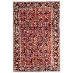 Antique Persian Heriz Handmade Multicolor Floral Designed Red Oversize Wool Rug