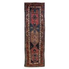 Antique Persian Heriz Handmade Tribal Blue Wool Rug
