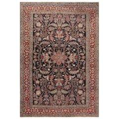 Antique Persian Heriz Handwoven Wool Rug in Beige, Blue, Brown, Pink and Red