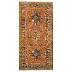 Antique Persian Heriz Karaja Oriental Small Size Rug, Three Geometric Medallions