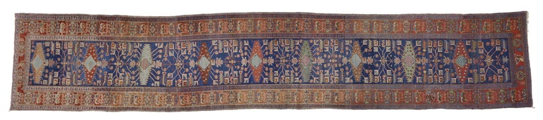 Antique Persian Heriz Karaja Runner with Art Deco Tribal Style For Sale 4