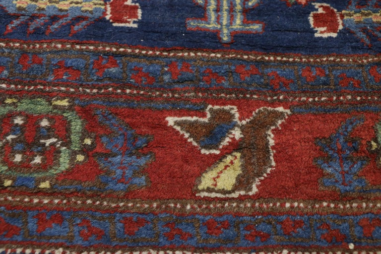 Hand-Knotted Antique Persian Heriz Karaja Runner with Art Deco Tribal Style For Sale