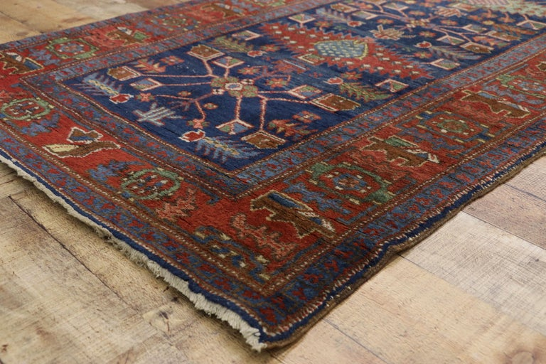 20th Century Antique Persian Heriz Karaja Runner with Art Deco Tribal Style For Sale