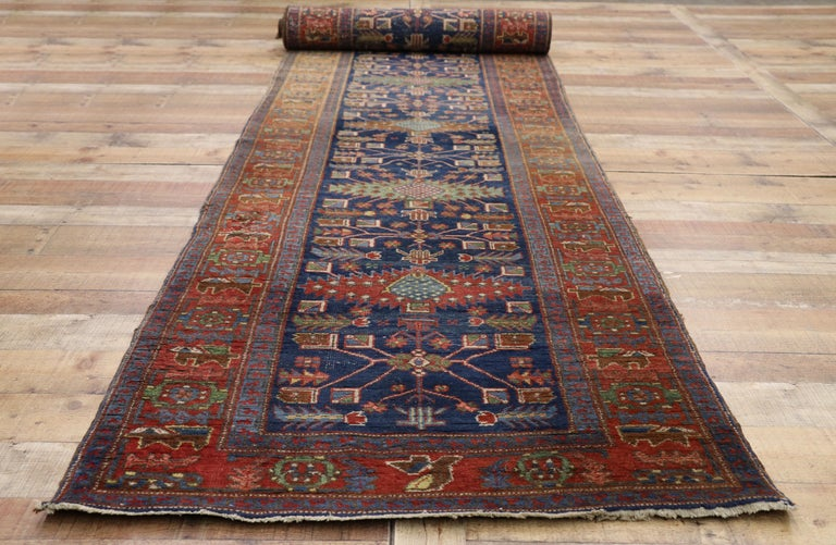 Wool Antique Persian Heriz Karaja Runner with Art Deco Tribal Style For Sale