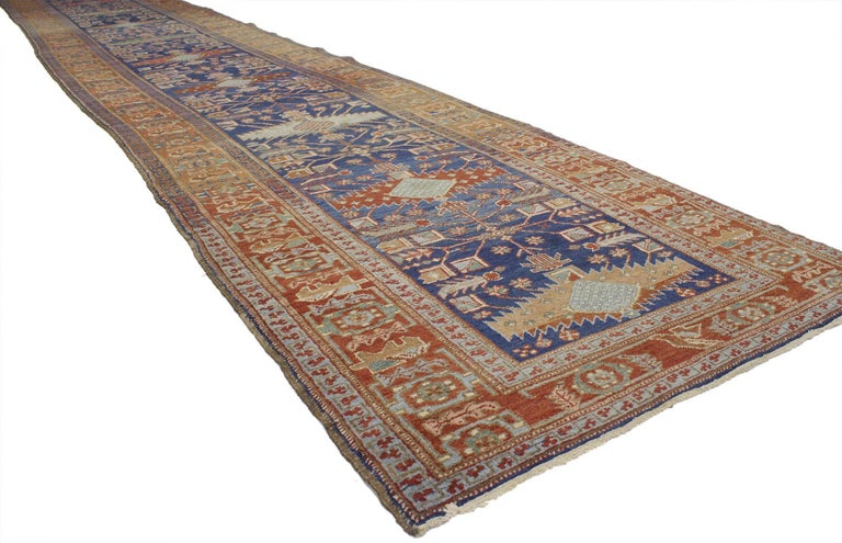 Antique Persian Heriz Karaja Runner with Art Deco Tribal Style For Sale 2