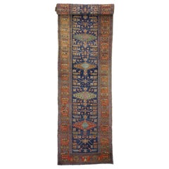 Antique Persian Heriz Karaja Runner with Art Deco Tribal Style