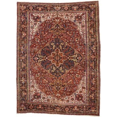 Antique Persian Heriz Palace Rug with Federal and American Colonial Style