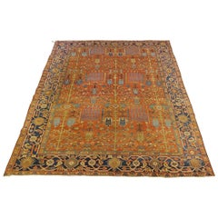 Antique Persian Heriz Rug, All-Over Rust Field, Wool, Room Size