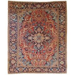 Antique Persian Heriz Rug Rust Wool Room Size, 1910