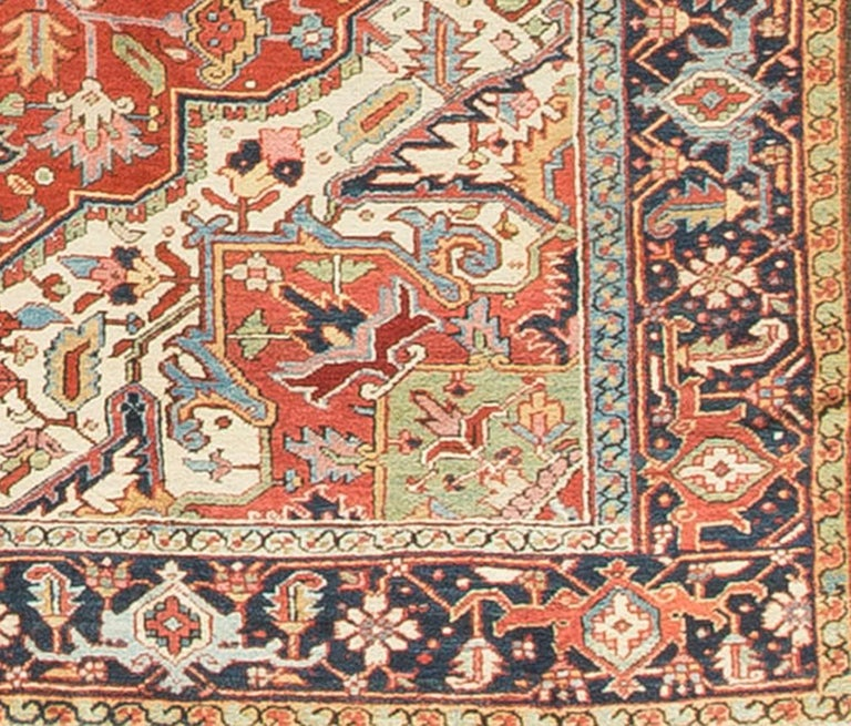 Hand-Woven Antique Persian Heriz Rug, circa 1900 For Sale