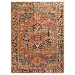 Antique Persian Heriz Rug, circa 1900 9' x 11'9
