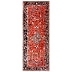 Rare Long and Narrow Antique Persian Heriz Rug. Size: 7 ft x 18 ft
