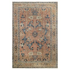 Antique Persian Heriz Brown & Navy Blue Handwoven Wool Rug