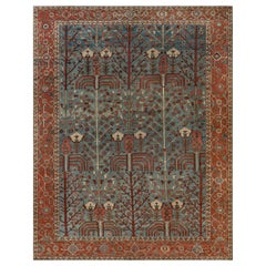 Antique Persian Heriz Rug in Beige, Blue, Brown, Green and Pink