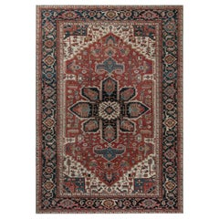 Antique Persian Heriz Rug in Beige, Blue, Pink, and Red