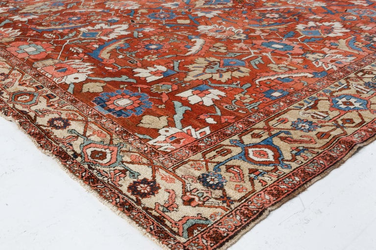 Antique Persian Heriz Rug in Blue, Pink, Red, White, and Yellow For Sale 4