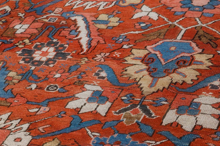 Antique Persian Heriz Rug in Blue, Pink, Red, White, and Yellow In Good Condition For Sale In New York, NY