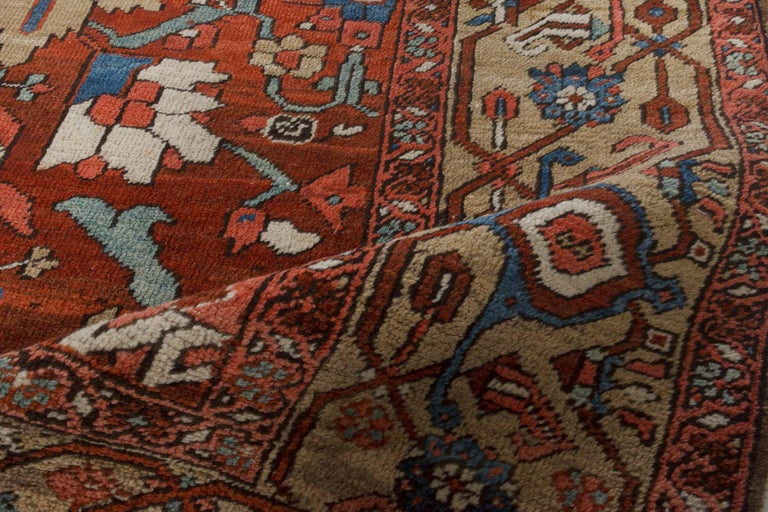 Wool Antique Persian Heriz Rug in Blue, Pink, Red, White, and Yellow For Sale