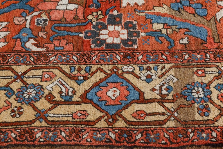 Antique Persian Heriz Rug in Blue, Pink, Red, White, and Yellow For Sale 2
