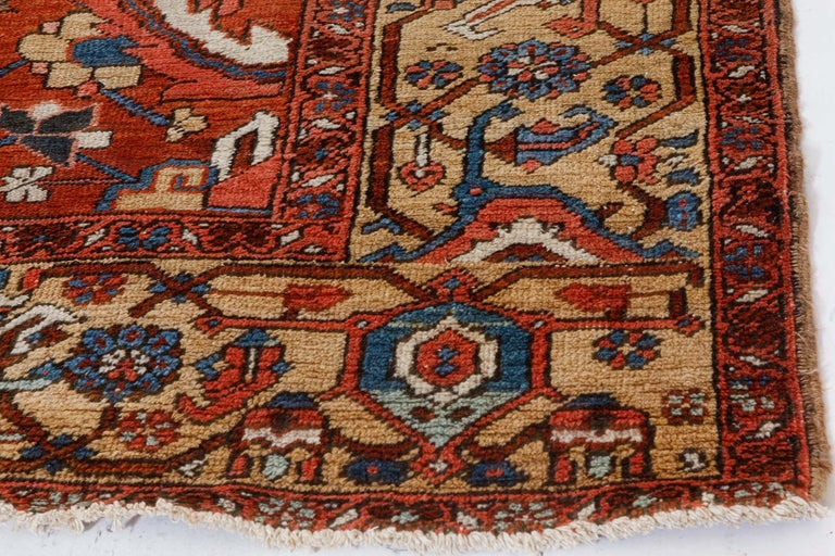 Antique Persian Heriz Rug in Blue, Pink, Red, White, and Yellow For Sale 3