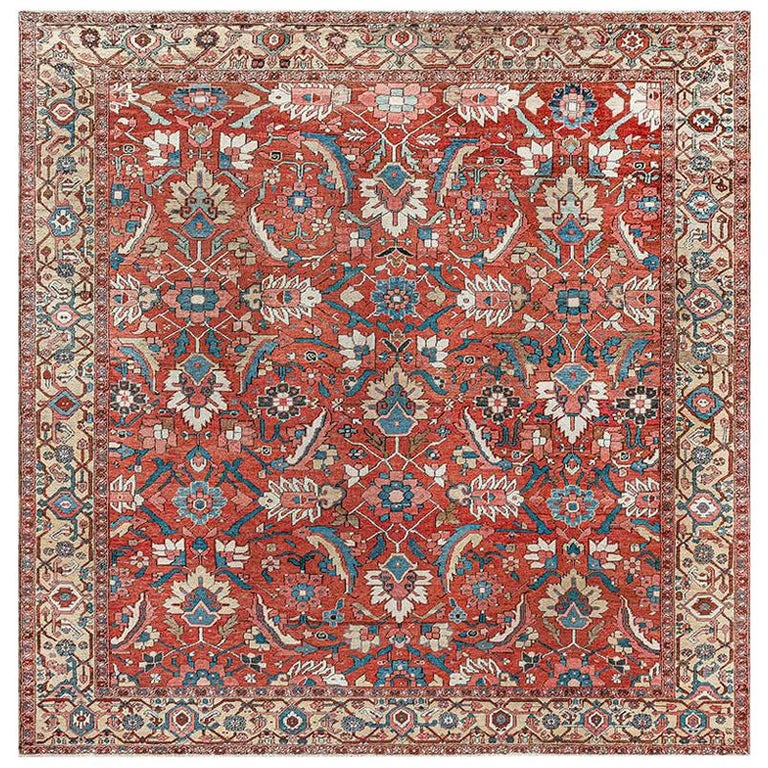 Antique Persian Heriz Rug in Blue, Pink, Red, White, and Yellow For Sale