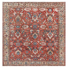 Antique Persian Heriz Rug in Blue, Pink, Red, White, and Yellow