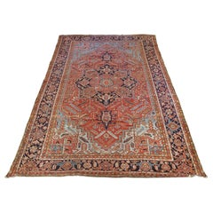 Antique Persian Heriz Rug, Palace, Rust and Light Blue, Size Decorative, 1910