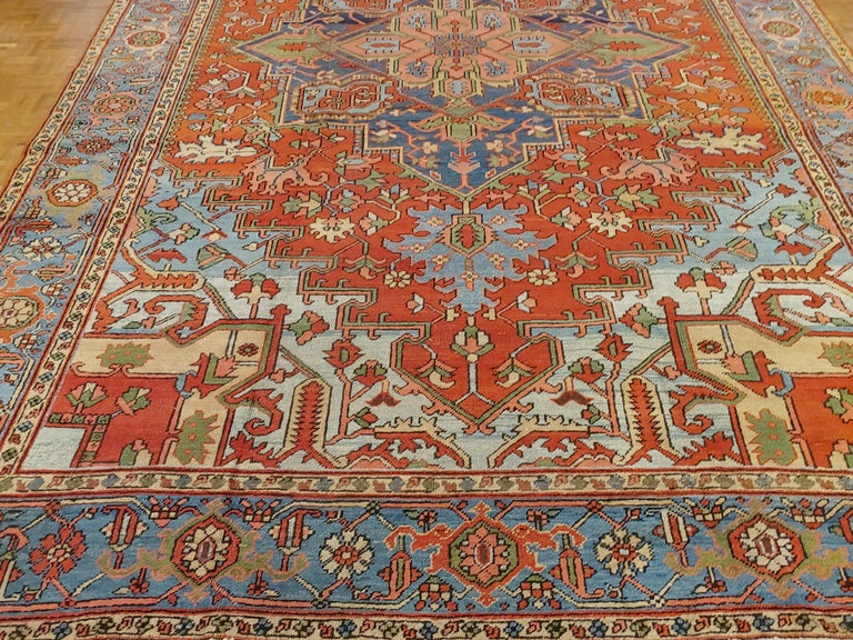Heriz Serapi Antique Persian Heriz Rug, Rust Colored with Light Blue Wool, Room Size For Sale