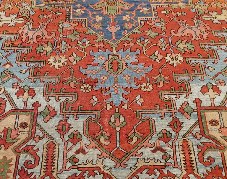 Antique Persian Heriz Rug, Rust Colored with Light Blue Wool, Room Size In Good Condition For Sale In Williamsburg, VA