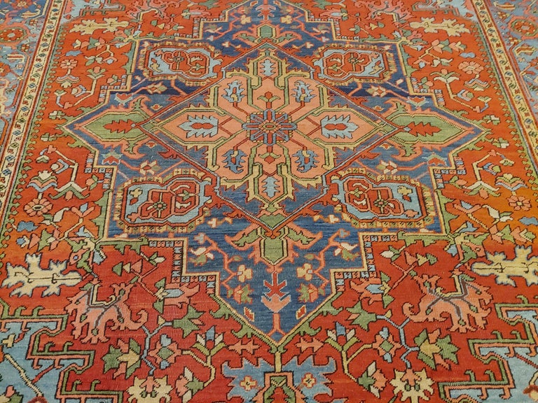 20th Century Antique Persian Heriz Rug, Rust Colored with Light Blue Wool, Room Size For Sale