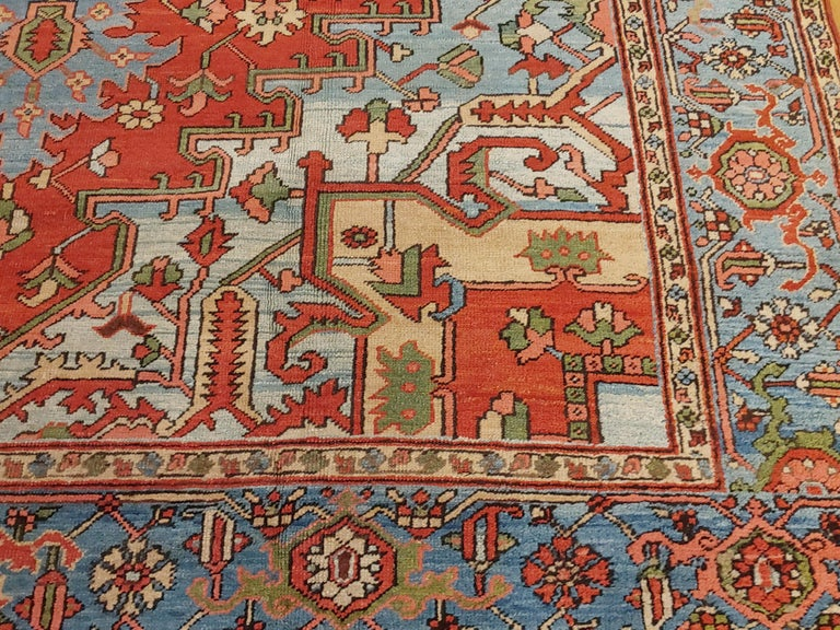 Antique Persian Heriz Rug, Rust Colored with Light Blue Wool, Room Size For Sale 1
