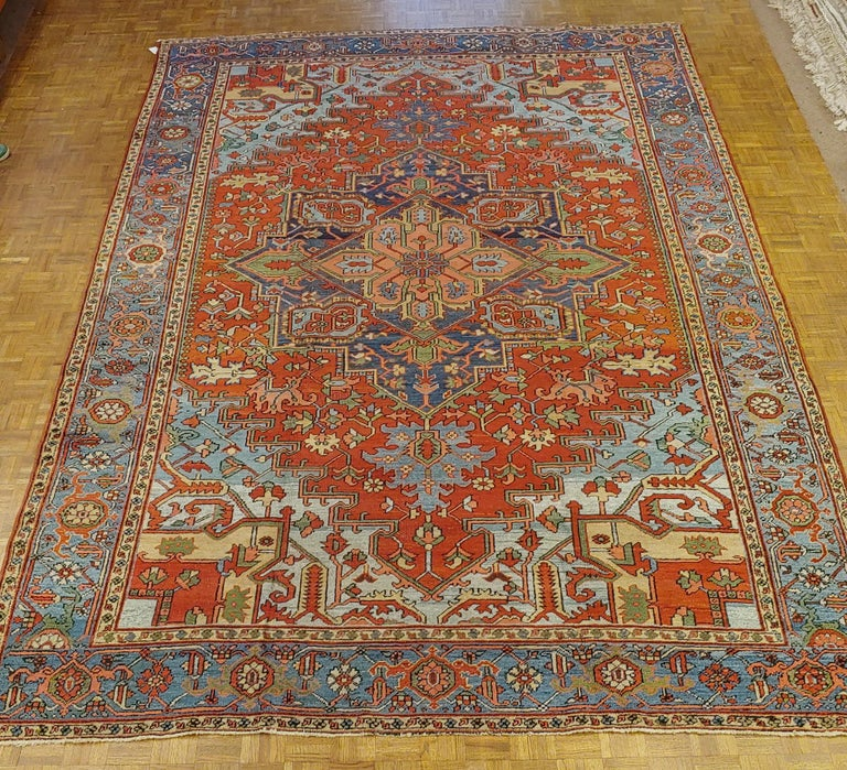 Antique Persian Heriz Rug, Rust Colored with Light Blue Wool, Room Size For Sale 2