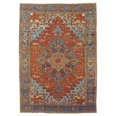 Antique Persian Heriz Rug, Rust Colored with Light Blue Wool, Room Size