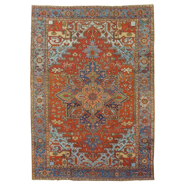 Antique Persian Heriz Rug, Rust Colored with Light Blue Wool, Room Size For Sale