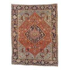 Antique Persian Heriz Rug, Rust Colored, Wool, Room Size