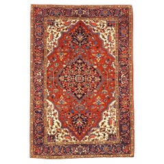 Antique Persian Heriz Rug with Beige & Blue Floral Details on Red & Ivory Field