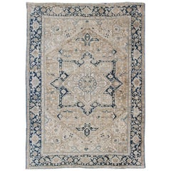 Antique Persian Heriz Rug with Geometric Design in Taupe, Blue-Gray