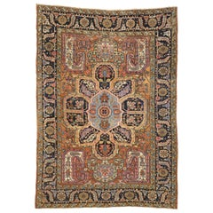 Antique Persian Heriz Rug with  Modern English Cottage Tudor Style