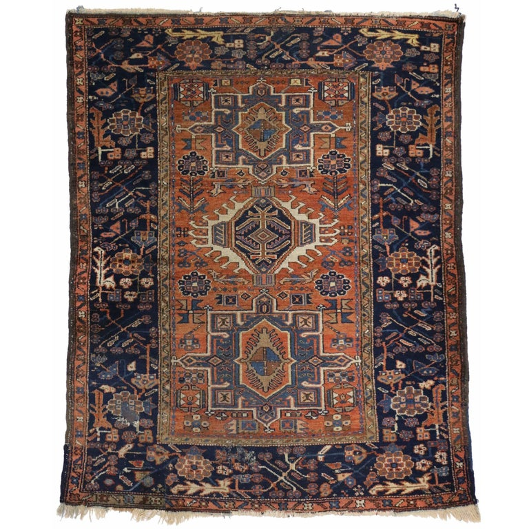 Antique Persian Heriz Rug with Modern Tribal Style
