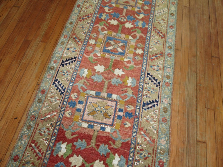 Hand-Knotted Antique Persian Heriz Runner For Sale