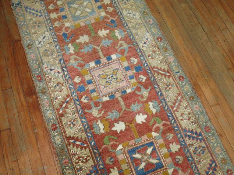 Antique Persian Heriz Runner In Excellent Condition For Sale In New York, NY