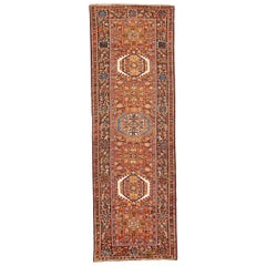Antique Persian Heriz Runner Rug with Blue and White Medallions on Center Field